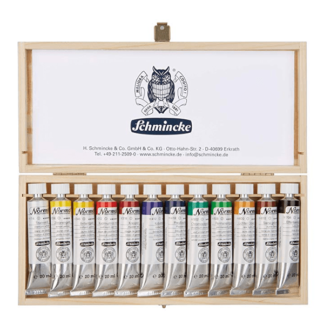 norma oil paint schmincke wooden box set of 12 tubes