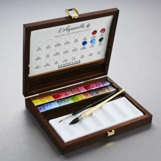 sennelier watercolour wooden box set 25 half pans